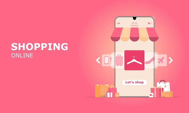 Online shopping illustration concept, suitable for web landing page