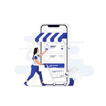Online shopping illustration concept