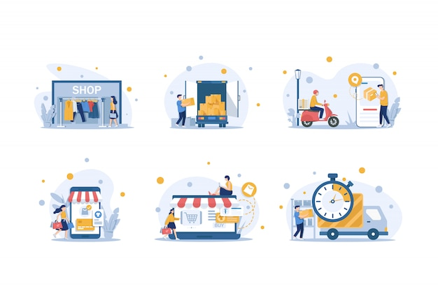 Online shopping illustration and delivery flat design