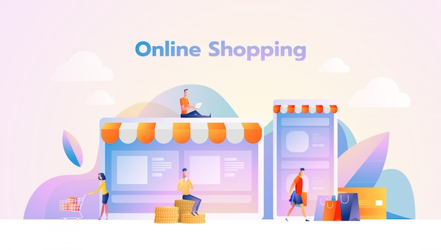 Online shopping illustration flat people characters with shopping bags