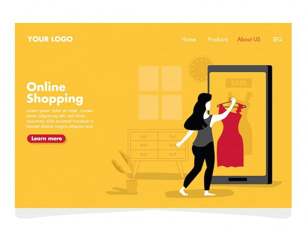 Online shopping illustration for landing page