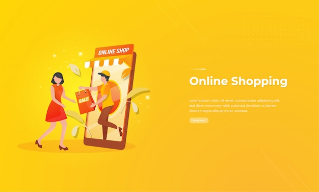Online shopping illustration on mobile application concept