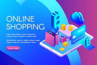 Online shopping illustration of bitcoin payment or cryptocurrency card