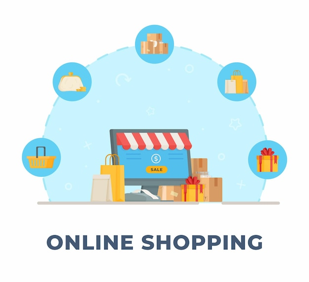 オンラインショッピング。オンラインショッピングと販売のイラスト。製品をオフラインで注文する。 Premiumベクター