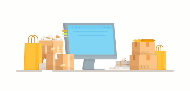 Online shopping.  illustration of a post office. cash register. orders from the internet at the mailbox.