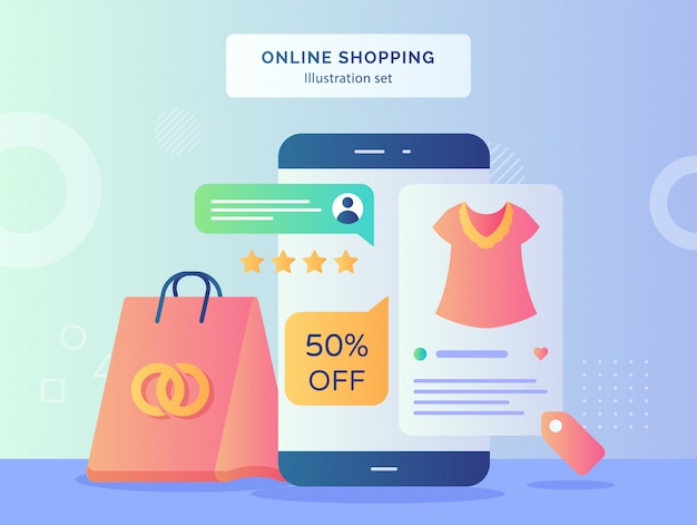Online shopping illustration set star rate on smartphone screen of shopping bag clothes with flat style.