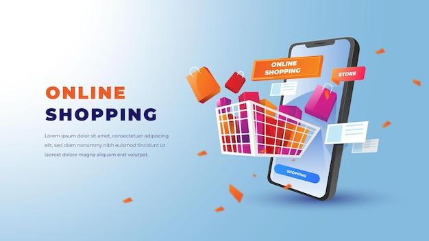 Иллюстрация покупок в интернете со смартфоном или магазином