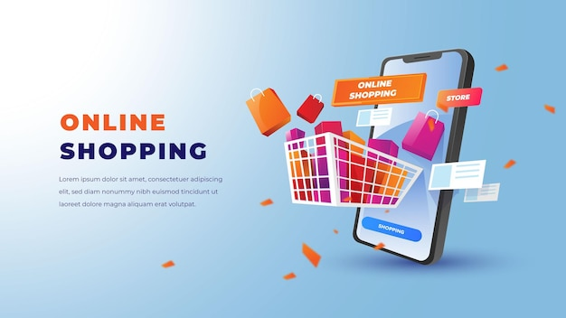 Online shopping illustration with smartphone shopping or store