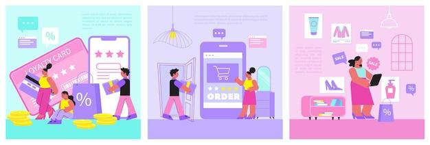 Online shopping illustrations set of loyalty program illustration