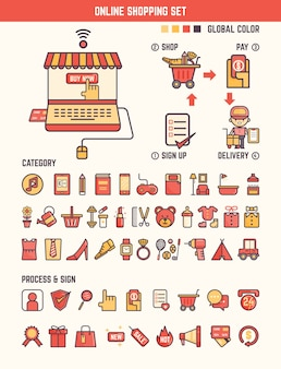 Online shopping infographic elements for kid