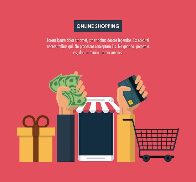 Online shopping infographic with cartoon elements