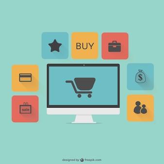 Vettoriali piatto grafiche shopping online