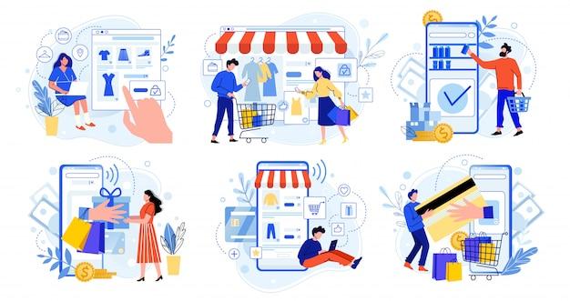 Онлайн шоппинг. интернет-рынок, покупки мобильных приложений и люди покупают подарки. смартфон оплаты и комплект одежды продажи плоской иллюстрации набор. концепция электронной коммерции. покупатели героев мультфильмов