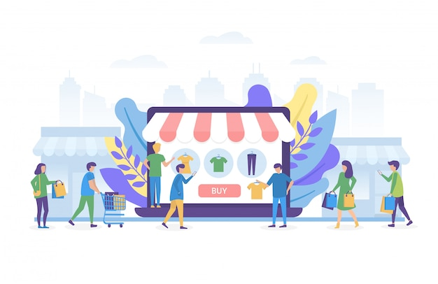 Online shopping on internet, people shop online illustration concept isolated.