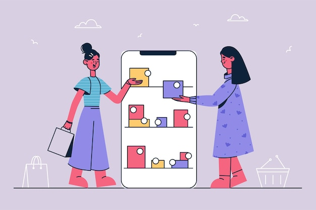 Online shopping and internet purchase illustration