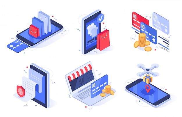 Онлайн шоппинг. интернет-магазин бизнес, цифровая коммерция и банковские карты оплаты иллюстрации набор