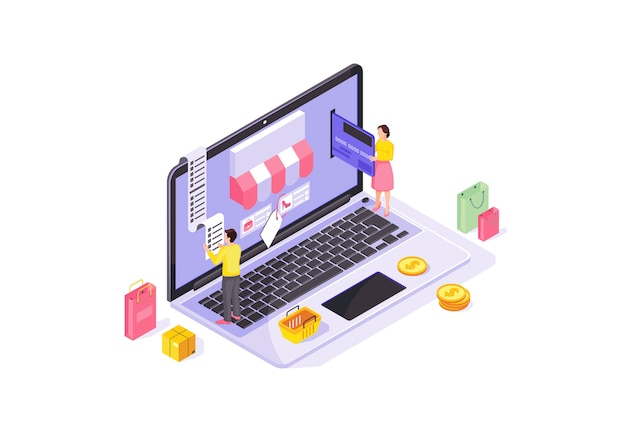 Online shopping isometric color vector illustration