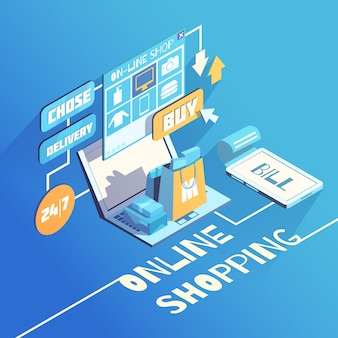 Online shopping isometric composition