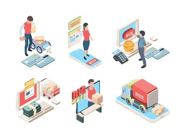 オンラインショッピング。スマートフォンやタブレットのベクトルセットから製品を注文するアイソメトリックコンセプトアイコンオンラインマーケットプレイス。イラストはスマートフォンでアイソメトリックマーケティングを購入します