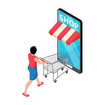 Online shopping isometric concept illustration with smartphone and customer with empty trolley 3d