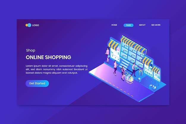 オンラインショッピングアイソメトリックコンセプトのランディングページ