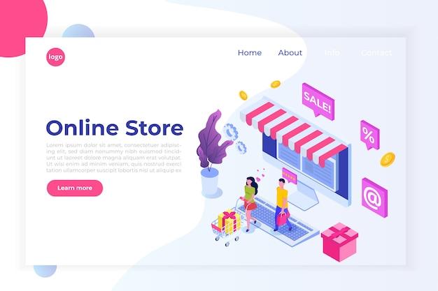 Интернет-магазин изометрической концепции с персонажами