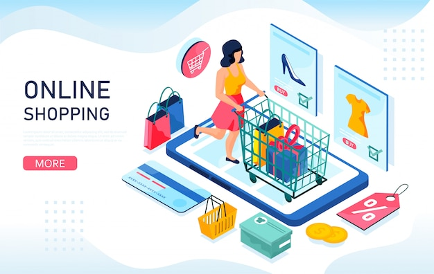 Online shopping isometric concept.