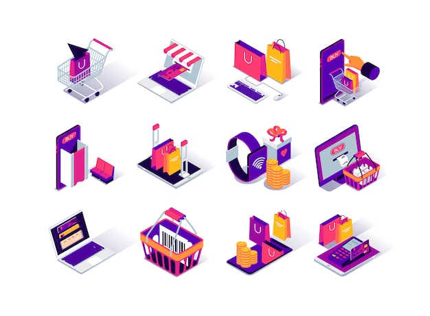 Online shopping isometric icons set.