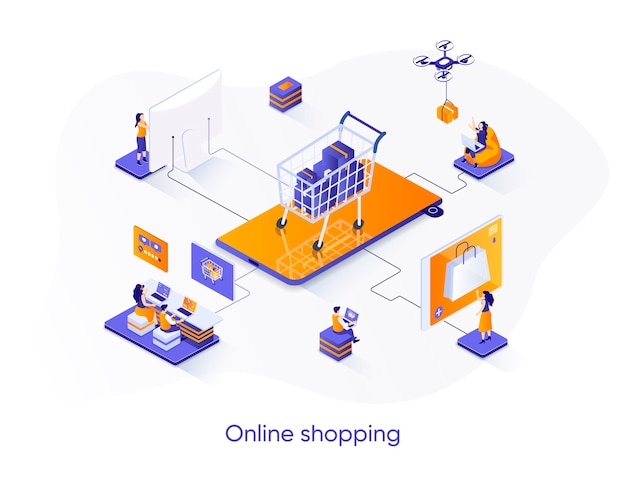 Online shopping isometric   illustration with people characters