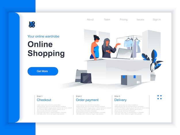 Online shopping isometric landing page. marketer showing goods to client at laptop screen in store situation. online choosing and buying goods in internet marketplace perspective flat design.
