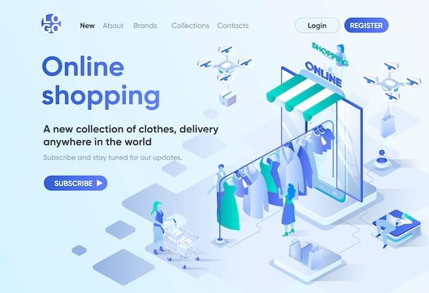 オンラインショッピングの等尺性ランディングページ。衣料品店でのオンラインショッピングとグローバルデリバリーサービス。 cmsおよびwebサイトビルダー用のインターネットマーケットプレイステンプレート。人のキャラクターとのアイソメ図シーン。