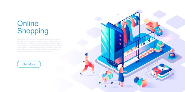 Online shopping isometric landing page vector template.