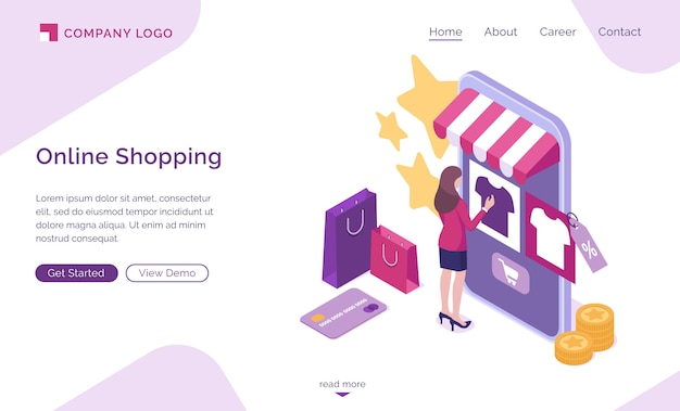 Online shopping isometric landing page, web banner
