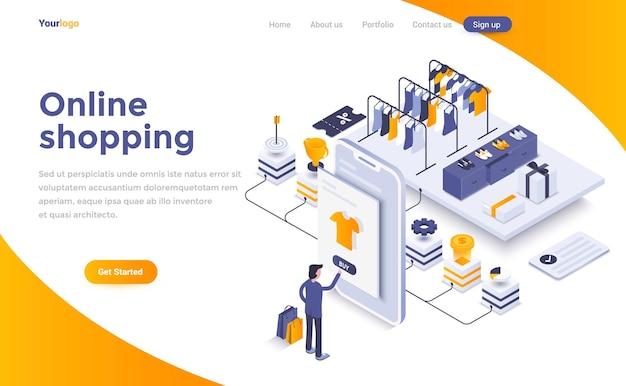 オンラインショッピングのアイソメトリックランディングページ