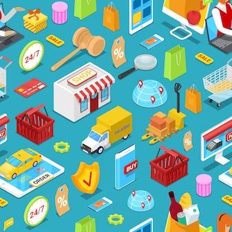 Online shopping isometric seamless pattern