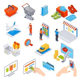 Insieme isometrico di shopping online di gadget di carte di credito che utilizzano per il trasporto di consegna ordine e pagamento