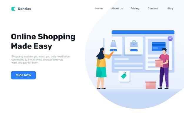온라인 쇼핑 방문 페이지 개념, 여자는 전자 상거래에서 제품 선택