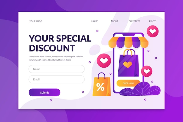 Online shopping landing page design