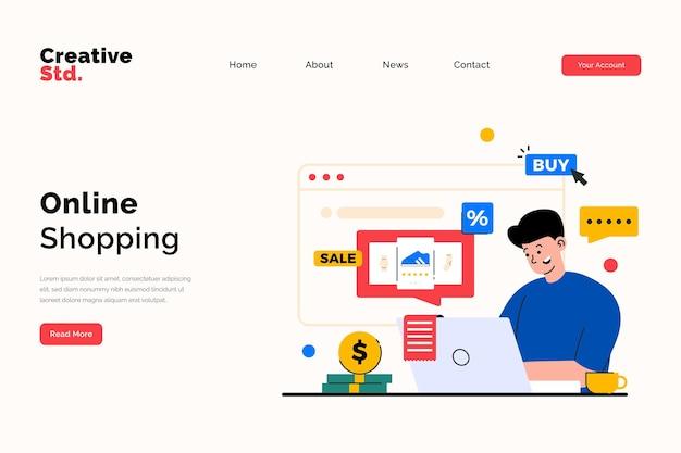 Целевая страница онлайн-покупок для концепции веб-сайта