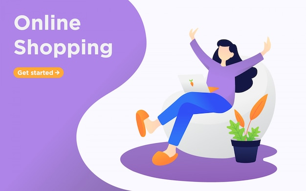 Online shopping landing page illustration