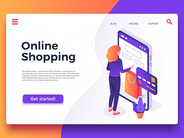 Online shopping landing page. internet shop, mobile store app and payments billing  illustration