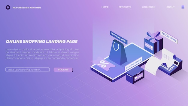 Online shopping landing page in isometric with assortment of packages and shopping bag