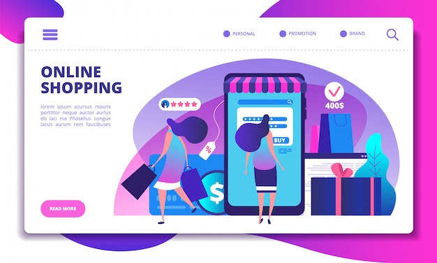 Online shopping landing page. people with smartphone doing internet payment in on-line store. website or app vector design
