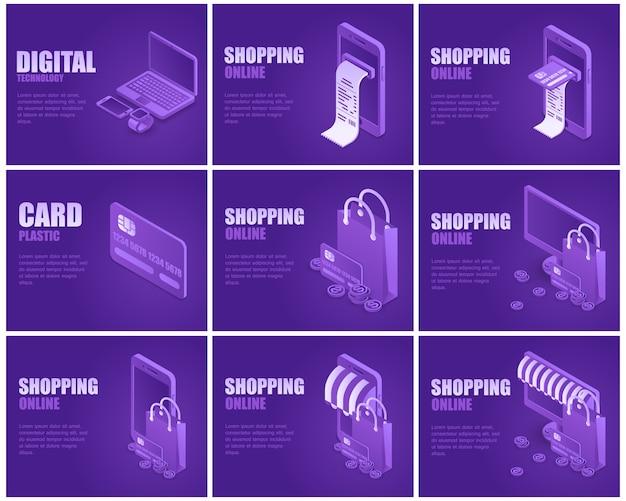 Online shopping landing page set