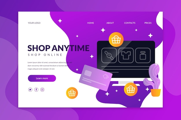 Online shopping landing page style