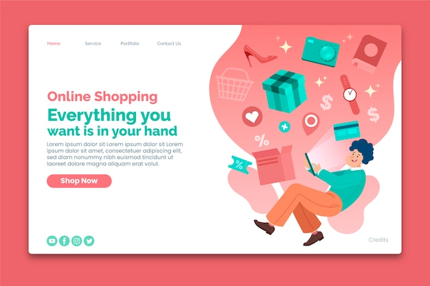 Online shopping landing page template with presents