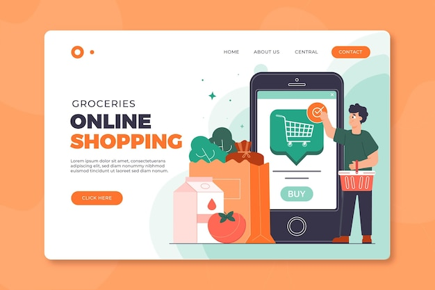 Online shopping landing page template