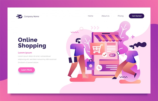 Online shopping landing page for web