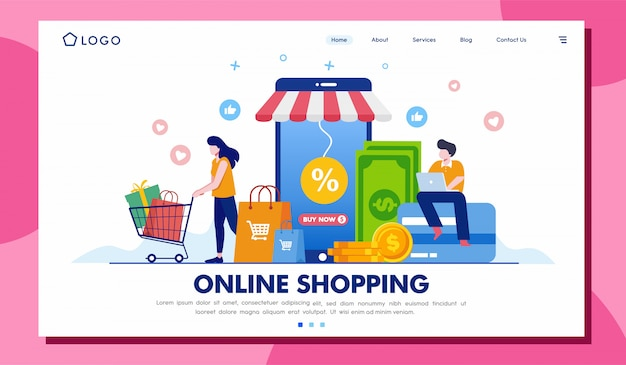 Online shopping landing page website illustration template