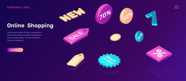 Online shopping landing page with sale icons